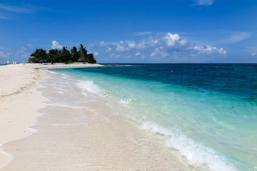 White sand beach and bright blue coea