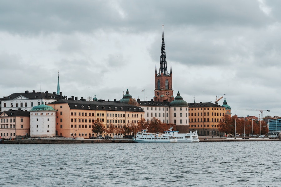 View across the water of a church called Riddarholmen Church