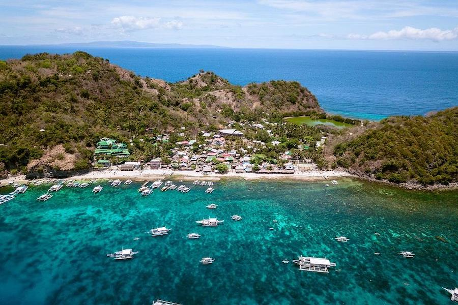 Most beautiful places in the Philippines aerial shot of Apo Island