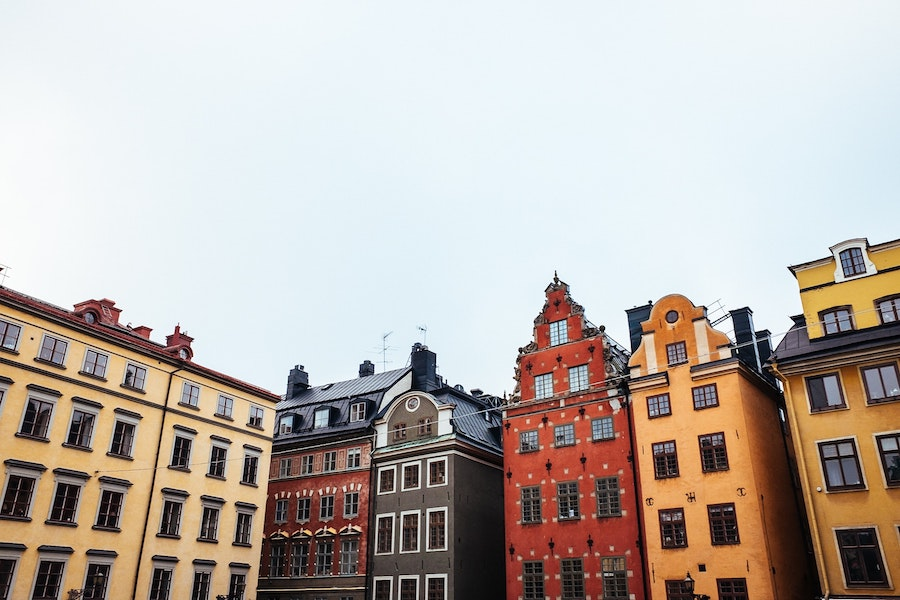 Gamla Stan's colourful buildings in unique designs