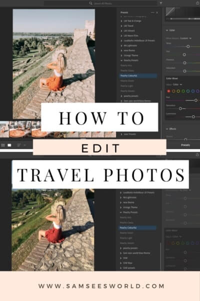 How to edit travel photos pin