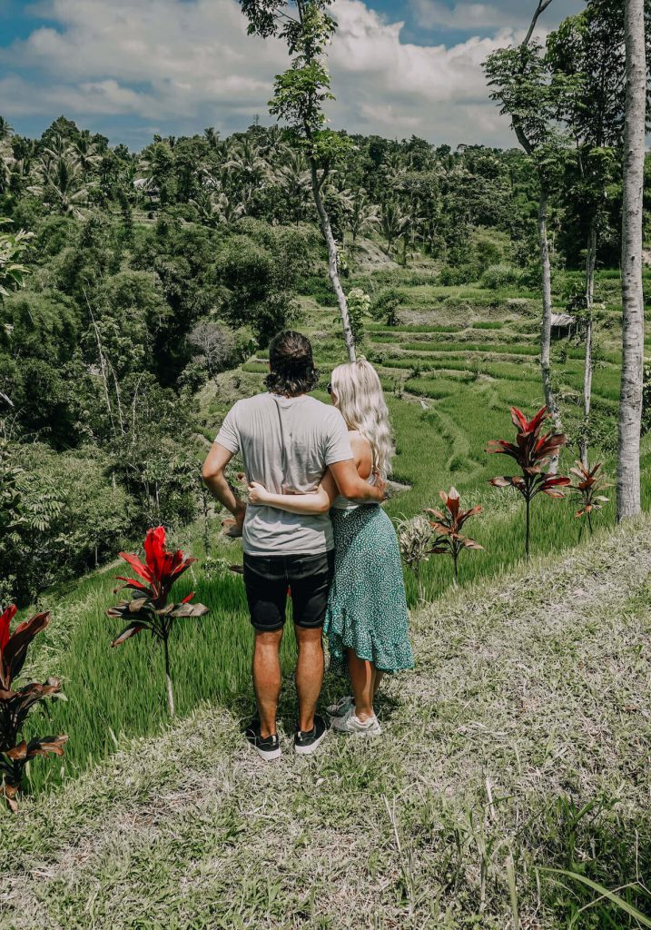 Two people standing in the Lombok rice fields