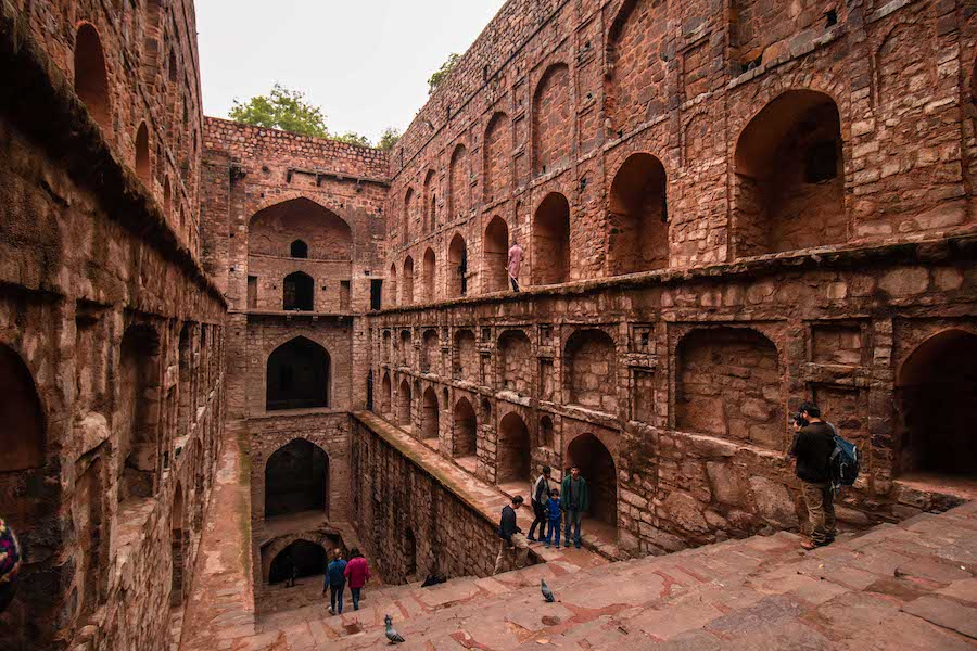 Old brick stepwell in Delhi