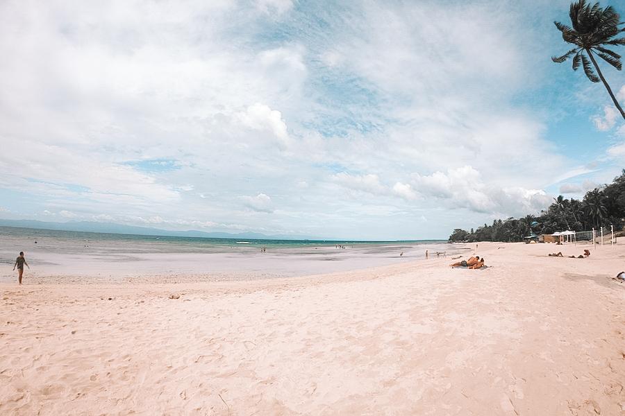 White sand beach and blue skies