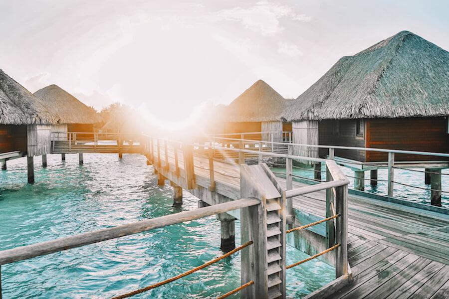huts on the water in Bora Bora
