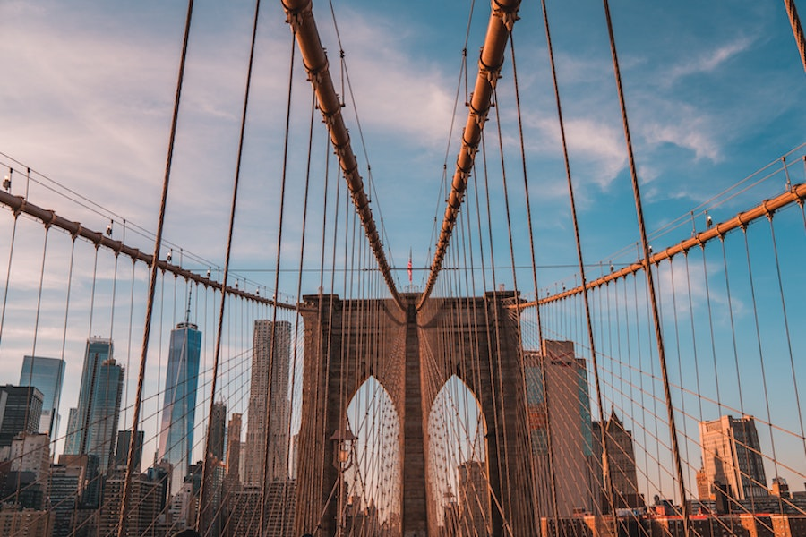 Vast Brooklyn bridge, showing the cables that hold the bridge up