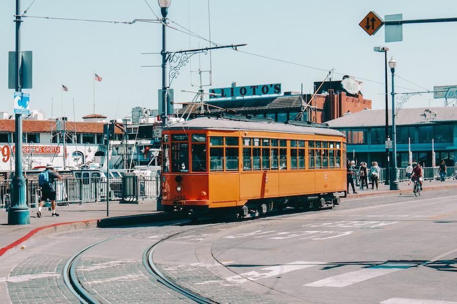 Orange cable car in San Francisco