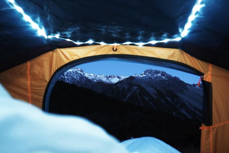 Tent with mountain view