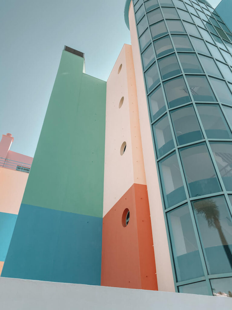 Houses painted in different colours and shapes