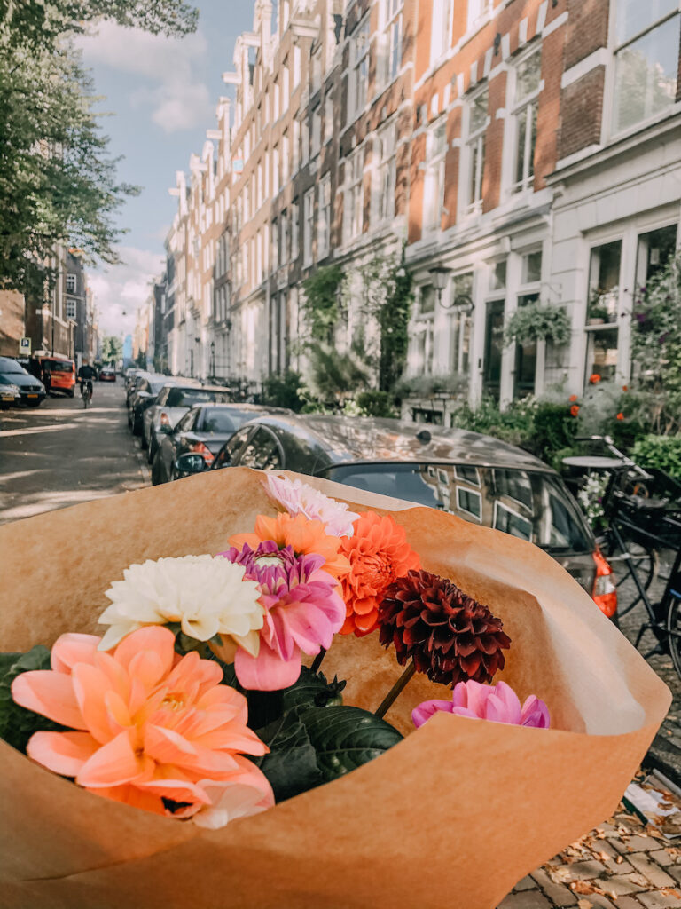 Flowers on a street in Amsterdam