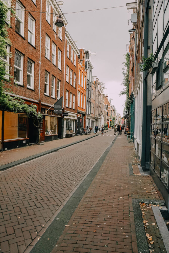 Side shopping street in Amsterdam