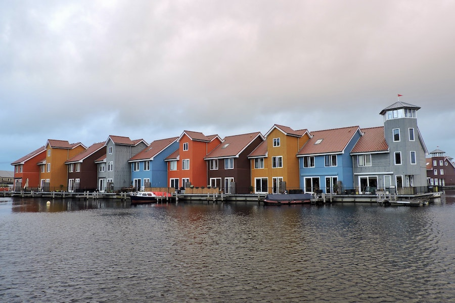 Colourful houses along the water