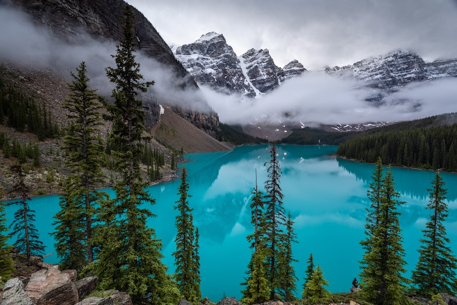 Blue water and snow mountains