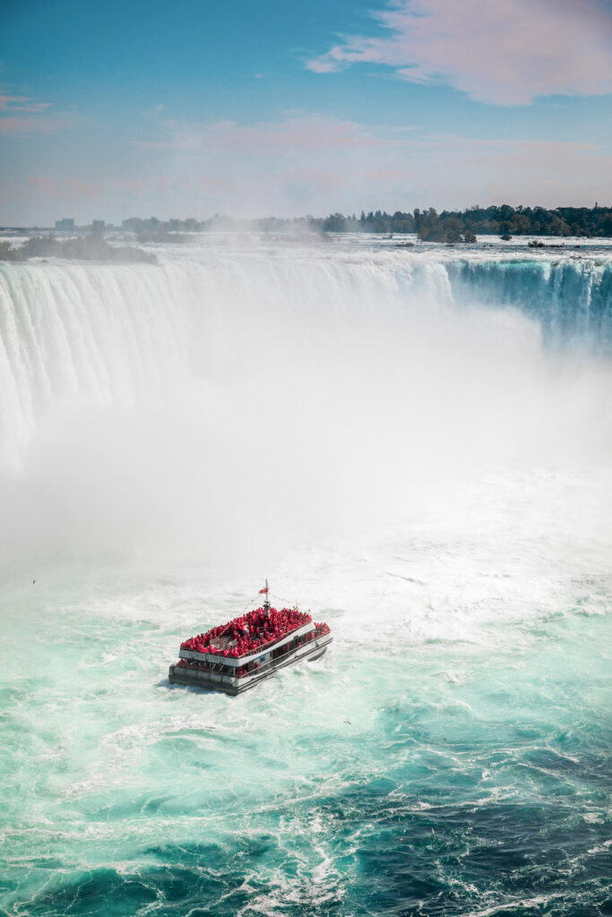 Boat in the middle of waterfalls