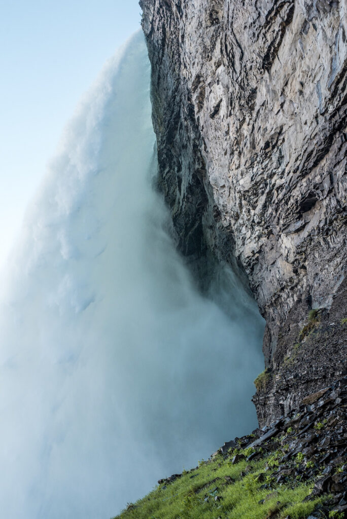 Side view of a waterfall