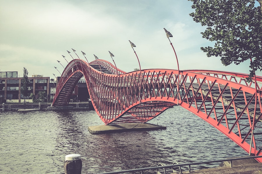 Wavy red bridge