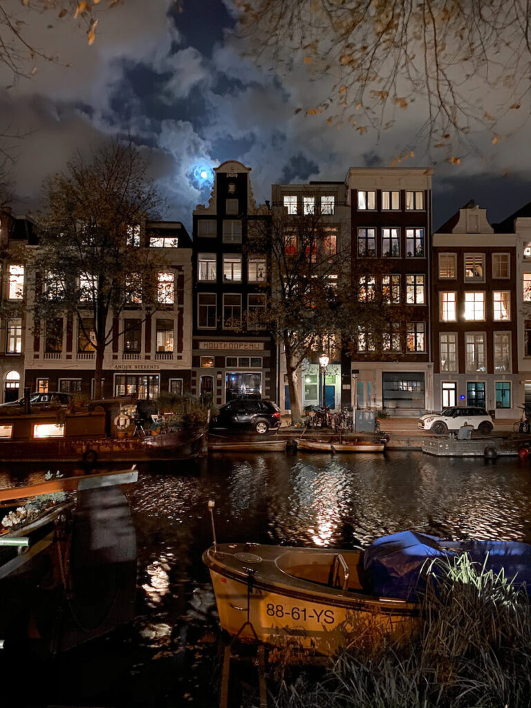 Amsterdam buildings at night