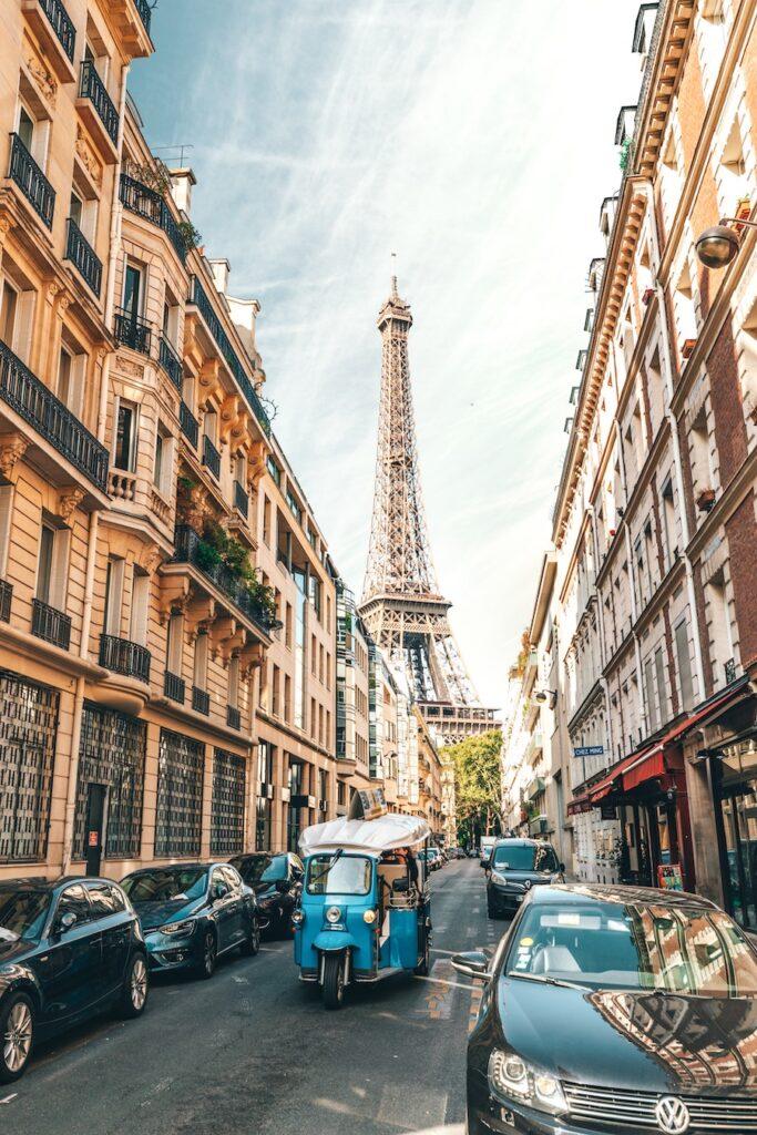 Eiffel Tower down a street