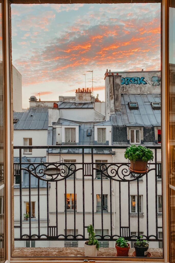 Balcony view of houses in Paris
