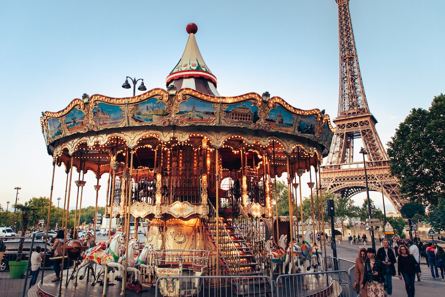 Merry Go Round with Eiffel Tower in the background