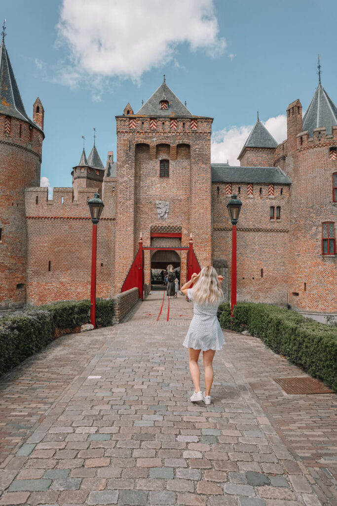 girl in front of a castle