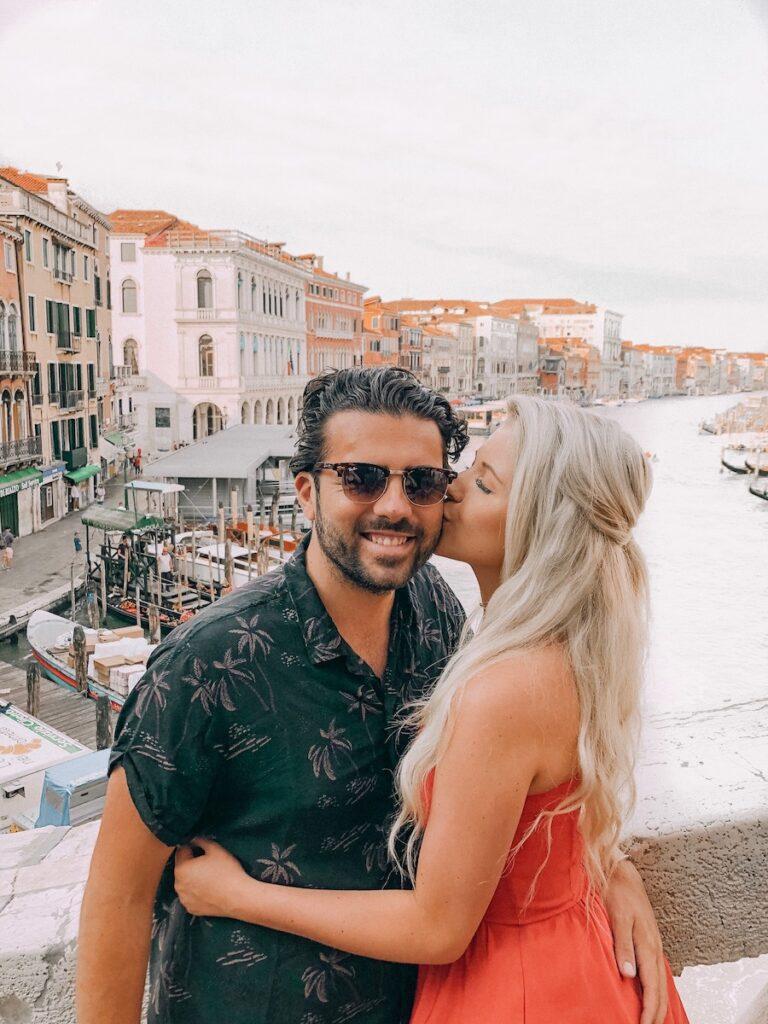 Couple on the main bridge in Venice