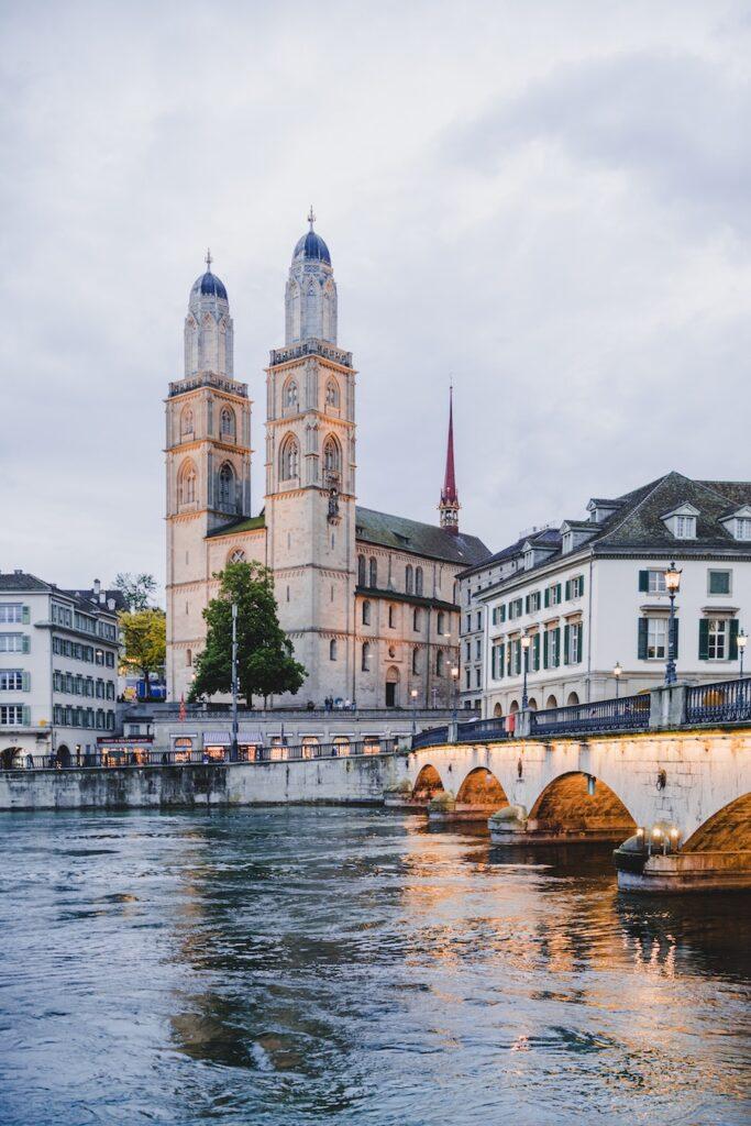 Buildings beside a river