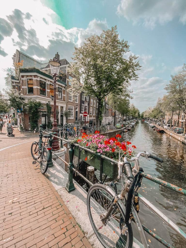 Bike along a canal bridge with view