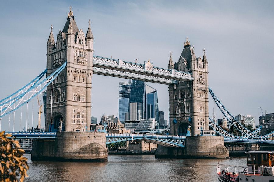 Huge bridge with spires on the top