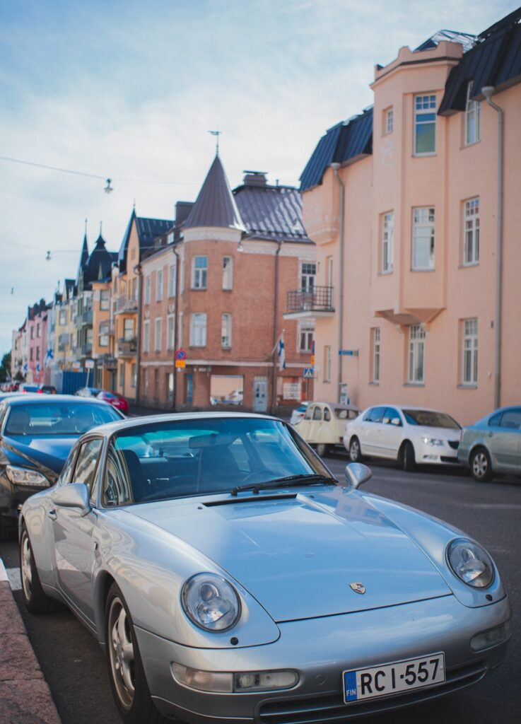 Pastel Street in old cars