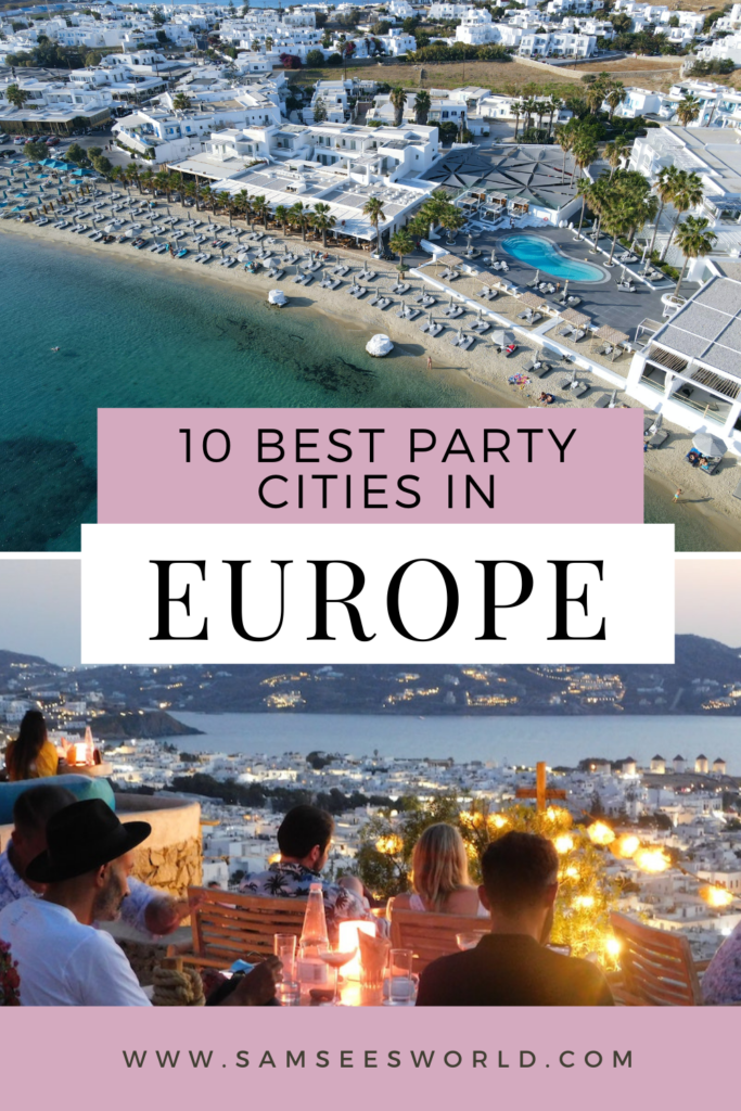 Best party cities in Europe pin