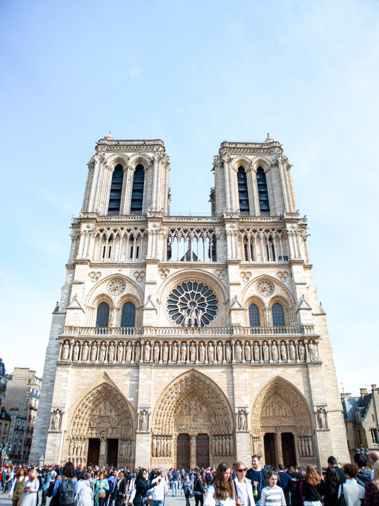 The exterior of the white stone Notre Dame