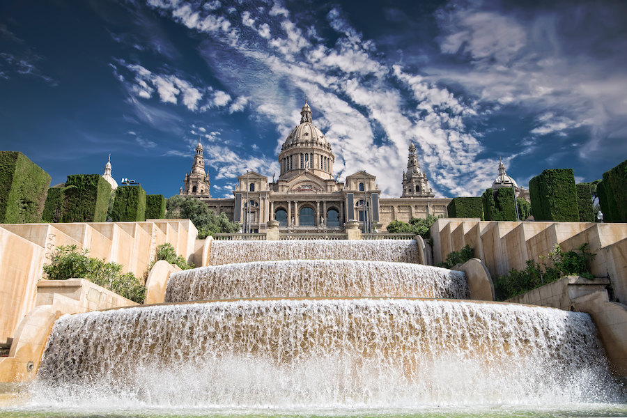 The Palau Nacional situated in Montjuic against blue sky, Barcelona