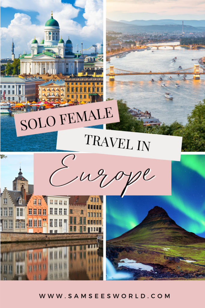 Solo female travel in Europe pin