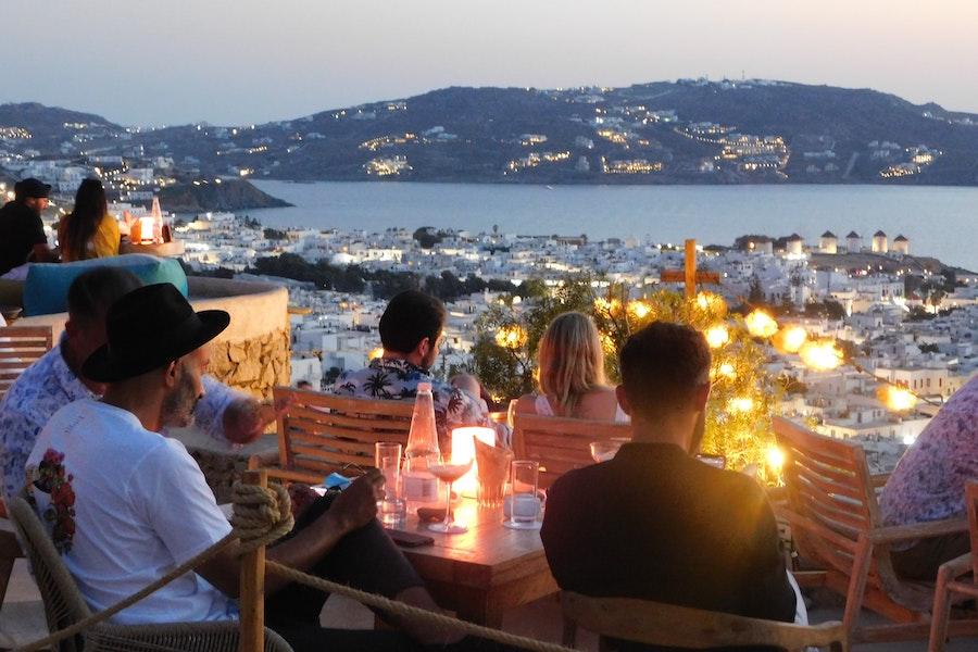Bar overlooking the city in Mykonos