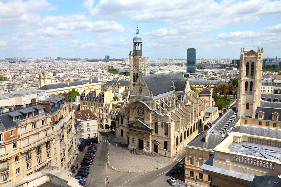 Aerial view of a church in Paris