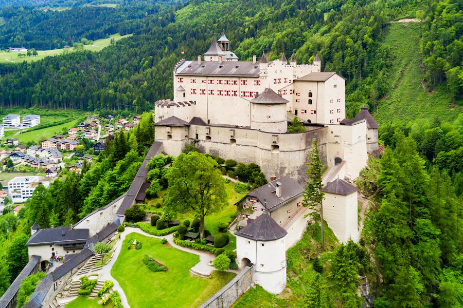 Hohenwerfen Castle or Festung Hohenwerfen aerial panoramic view. Hohenwerfen is a medieval rock castle overlooking the Austrian Werfen town in Salzach valley, Austria