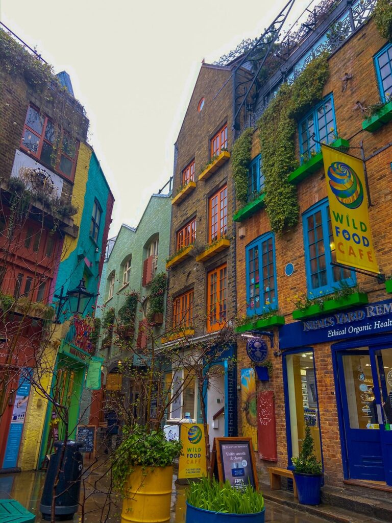 Alleyway with colourful buildings