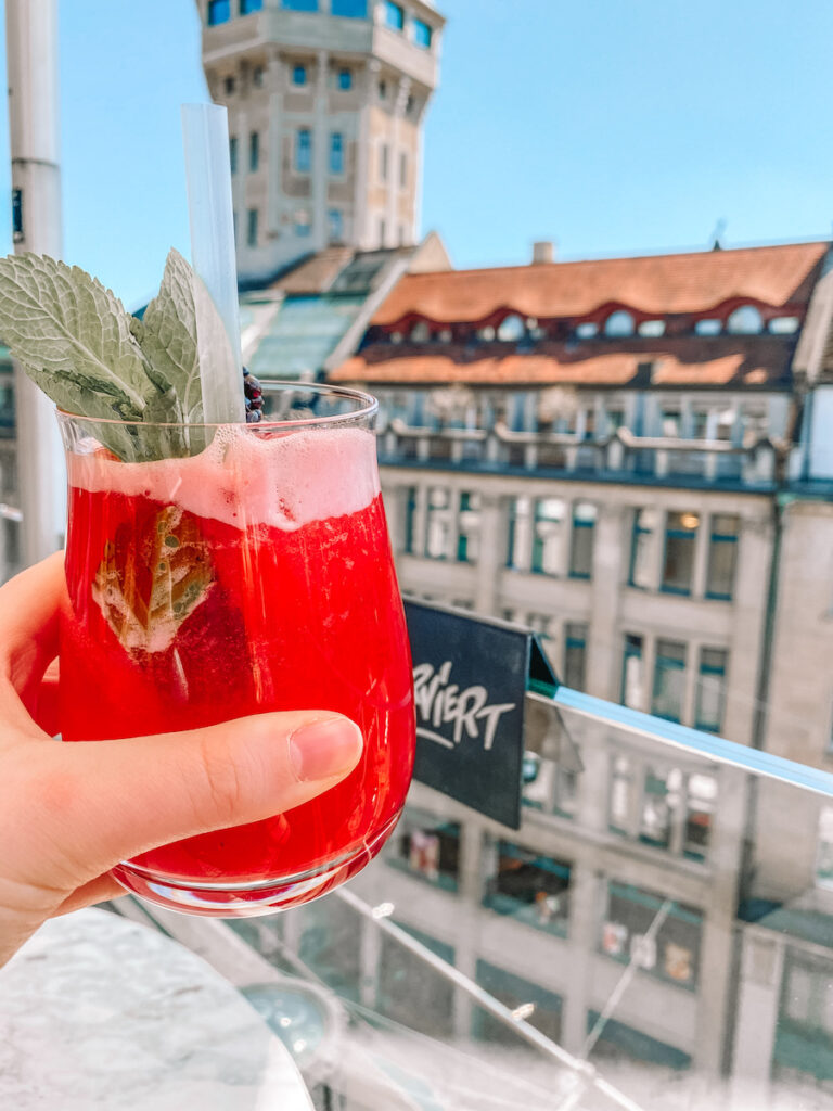 Drink on a rooftop