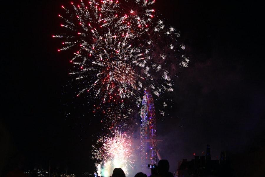 Fireworks beside the London Eye