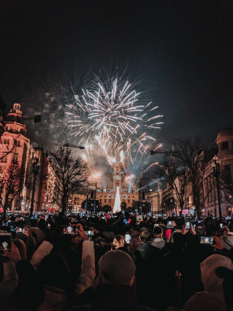 Fireworks on a street in Porto