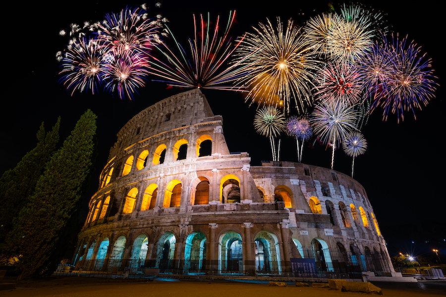 Fireworks display at Colosseum in Rome, Italy
