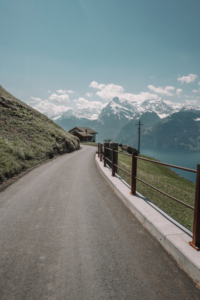 Walkway with the Swiss alps in the distance
