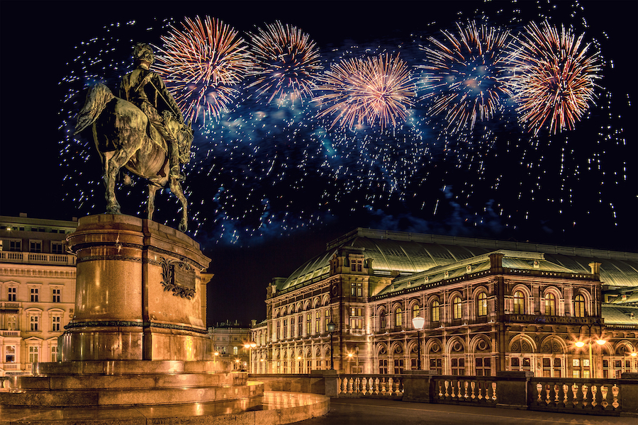Vienna (Austria) with fireworks during New Year celebration