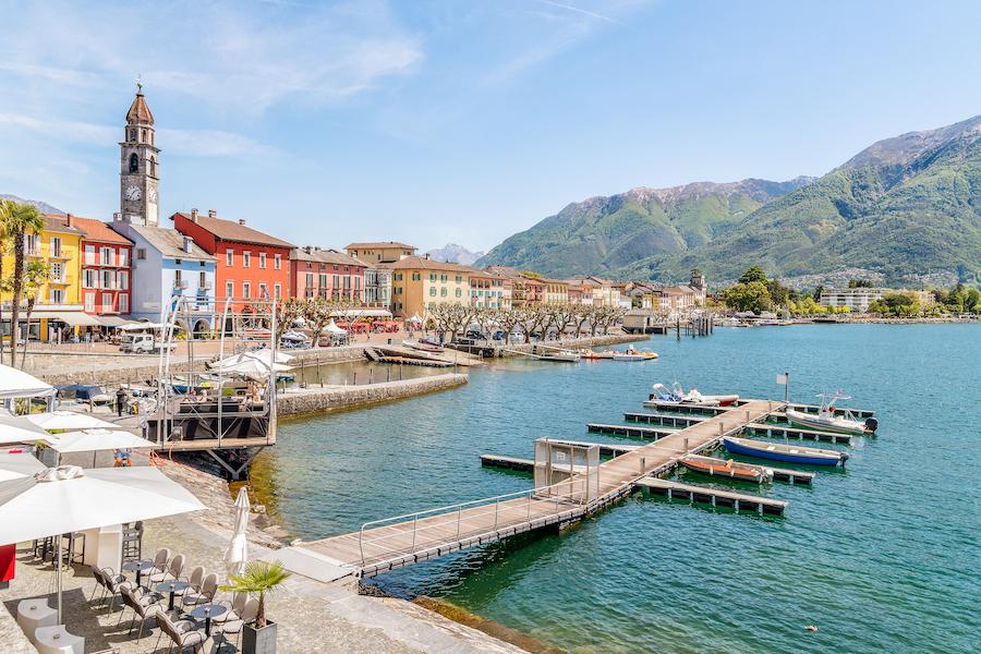 Ascona lakefront on the shore of Lake Maggiore, Ticino, Switzerland