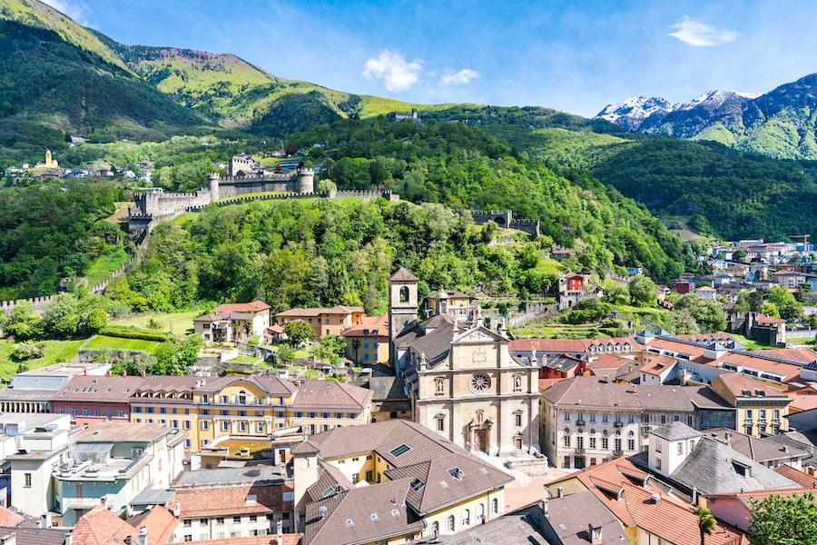 Panoramic lanscape view of old city and beautiful Church of the Collegiata, Bellinzona, Switzerland