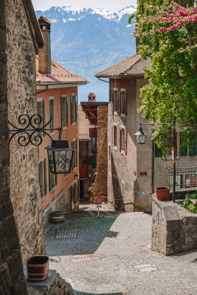 Cobblestone streets with colourful French inspired buildings