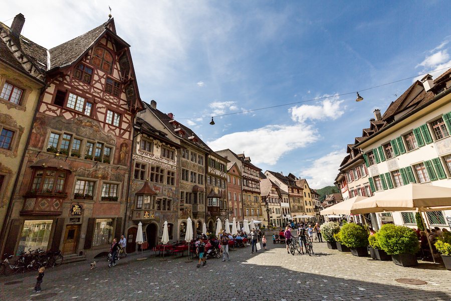 Town Hall and various houses in the old town of Stein am Rhein on May 17, 2015. Its a municipality in the canton of Schaffhausen in Switzerland.