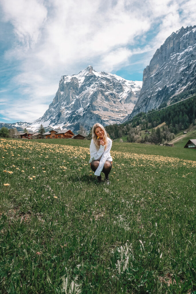 girl in the grass with a huge mountain in the distance