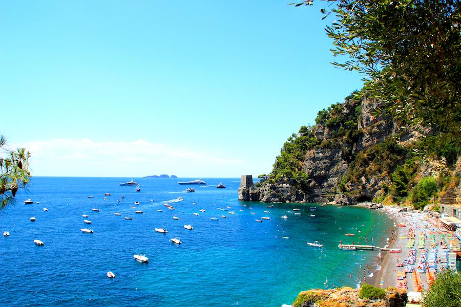 POSITANO, ITALY - CIRCA JULY 2017: Seaside of Positano. The main beaches in Positano are Spiaggia Grande, Fornillo, La Porta, Fiumicello, Arienzo, San Pietro, Laurito and Remmese